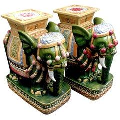 Pair of Italian Glazed Terra Cotta Elephant Garden Stools Tables, circa 1960s