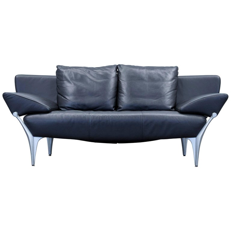 Rolf benz 1600 designer sofa leather black two seat function couch modern at 1stdibs Rolf benz 322 sofa