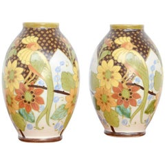 Rare Pair of Polychrome Vases by Charles Catteau and Jan Wind for Boch Kermis