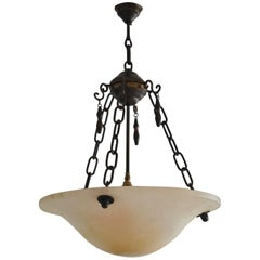 Large Alabaster Four-Light Chandelier Pendant