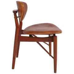 Finn Juhl NV55 Chair for Niels Vodder in Teak and Natural Leather, 1955