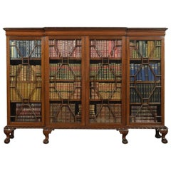 Chipendale Revival Mahogany Breakfront Astragal Glazed Bookcase