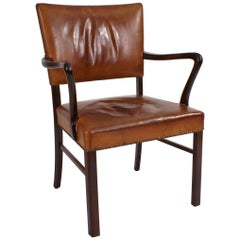 Jacob Kjaer Chair in Rosewood and Patinated Natural Leather