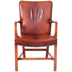 Kaare Klint, High Back Armchair in Original Niger Leather, 1940's.