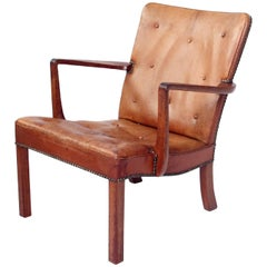 Jacob Kjær & Orla Mølgaard Lounge Chair in Cuban Mahogany and Niger Leather