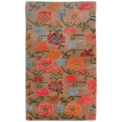 Vintage Tibetan Khoman Carpet with Overall Lotus Blossom Pattern