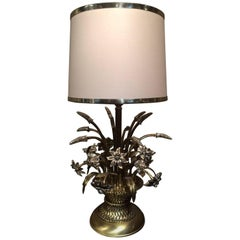 Brass and Silver Fruitbasket Lamp, circa 1970