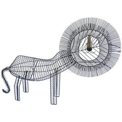 Large Modernist Wire Lion Sculpture