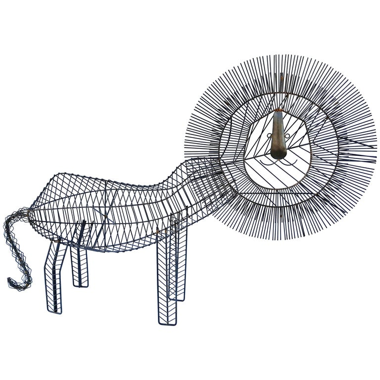 Large Modernist Wire Lion Sculpture For Sale