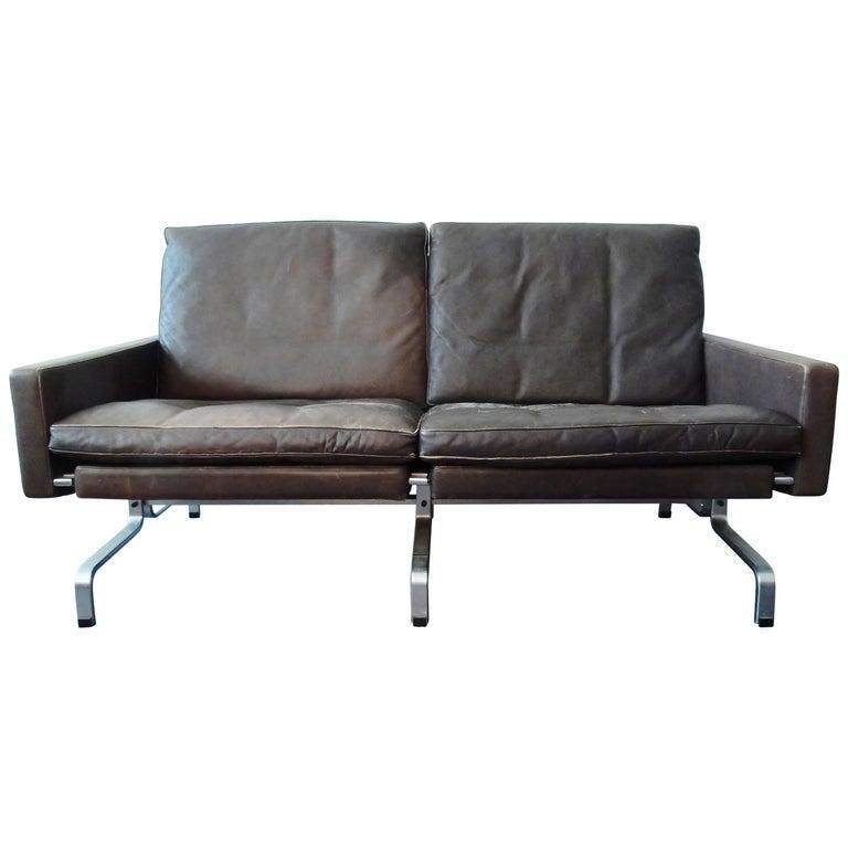PK 3 1/2 Sofa in Brown Leather by Poul Kjærholm for E. Kold Christensen, Denmark