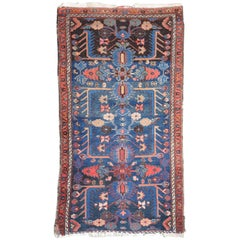 Small Persian Carpet in Deep Blue and Wine Colors, circa 1900