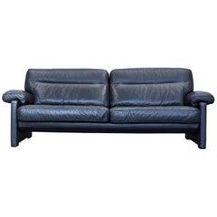De Sede DS 70 Designer Sofa Leather Black Three-Seat Couch Modern