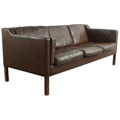 Dark Brown Leather Mogensen Style Vintage 1970s Three-Seat Danish Sofa