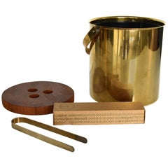 Large Arne Jacobsen Brass Ice Bucket and Ice Tong for Stelton