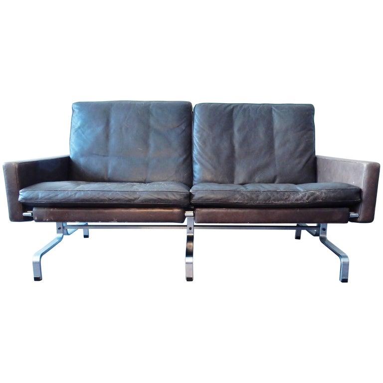 PK 31/2 Sofa in Brown Leather by Poul Kjaerholm for E. Kold Christensen, Denmark
