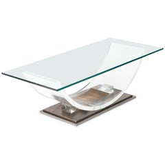 Charles Hollis Jones Lucite and Brass Coffee Table 1970s