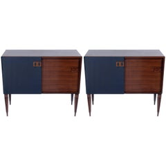 Pair of Mid-Century Sliding Doors Cabinet-Sideboard by F.Lli Proserpio Signed