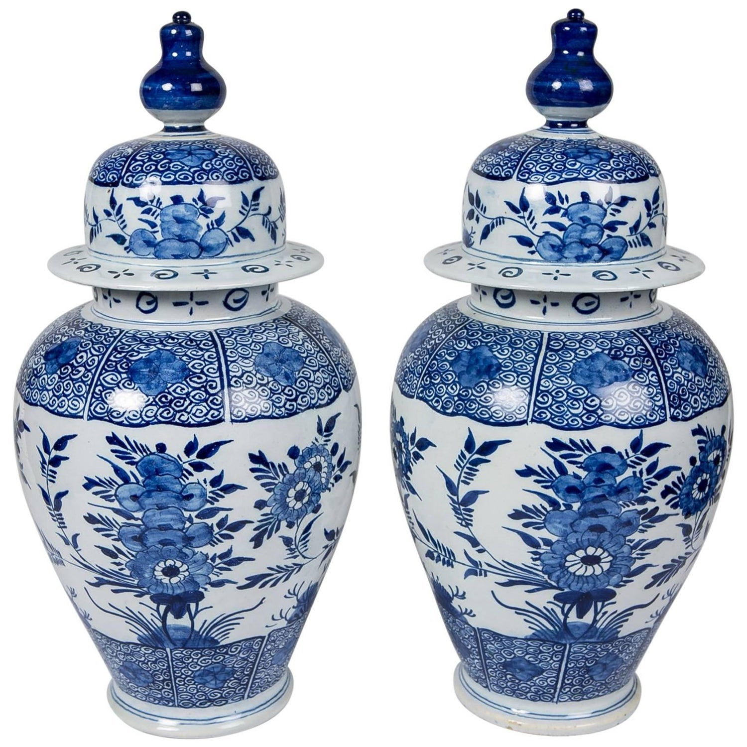 Pair of blue and white delft ginger jars vases base marking at blue and white delft ginger jars reviewsmspy