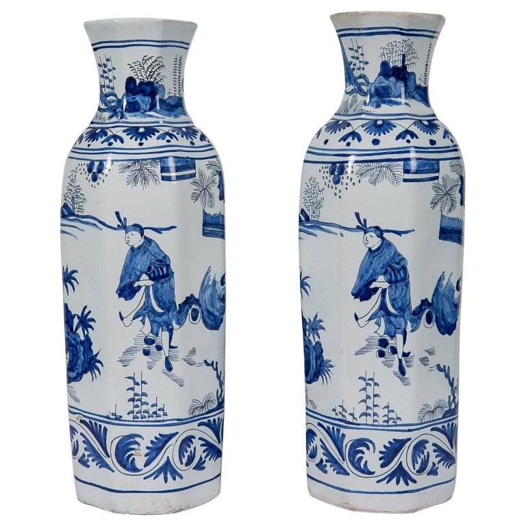Blue and White Delft Vases Antique