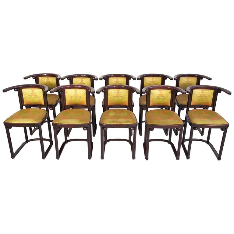 Ten Wittmann, Austria Fledermaus Dining Room Chairs Designed by Josef Hoffman