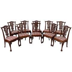 Set of Ten Chippendale Dining Chairs Victorian Revival Inc. Carvers, circa 1900
