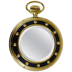 Midcentury Brass Pocket Watch Wall Mirror, Italy, 1950s