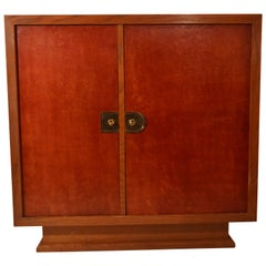 Signed Cabinet in Oak with Asymmetric Doors in Leather by Charles Dudouyt, 1940