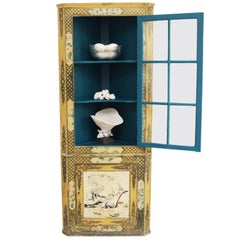 Late 19th Century Chinoiserie Glass Fronted Standing Corner Cupboard