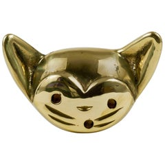 Walter Bosse Cat Brass Cork Screw Bottle Opener, Hertha Baller, Austria, 1950s
