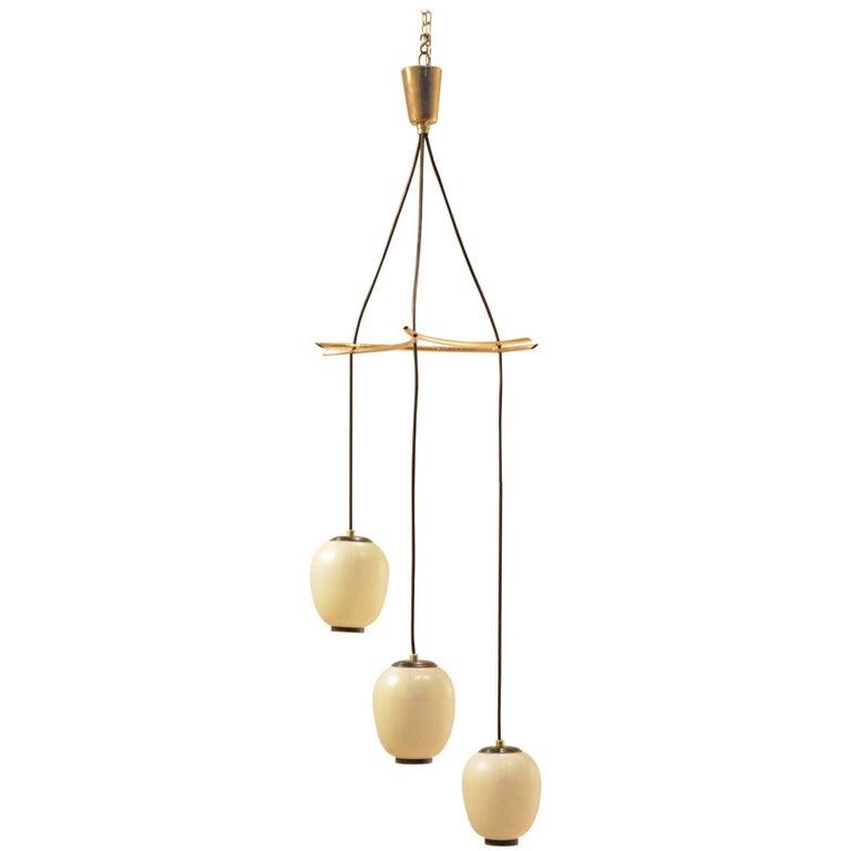 "Mid-Century Italian Triple Glass ""Lampions"" Drop Down Pendant Lamp Chandelier"