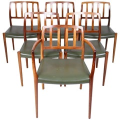 Niels O. Møller, Set of Six East Indian Rosewood Dining Chairs