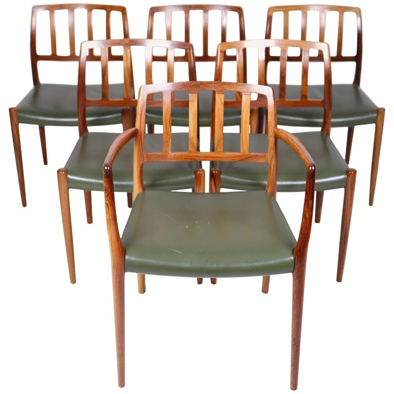 Niels O. Møller, Set of Six East Indian Rosewood Dining Chairs For Sale