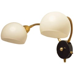 Mid-Century French Design Glass Balls and Flexible Brass Arm Sconce