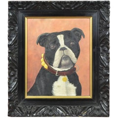 Vintage Black Framed Bulldog Painting on Wood