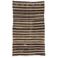 Vintage Striped Nomadic Kilim Made of Natural Undyed Wool