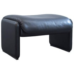 De Sede Designer Footstool Leather Black One-Seat Pouff Function Couch Modern
