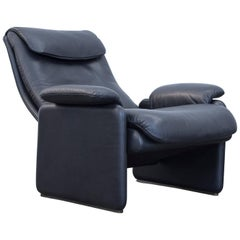 De Sede Designer Armchair Leather Black One-Seat Function Couch Modern