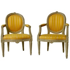 Pair of Gustavian Period Yellow Upholstered Armchairs, 18th Century