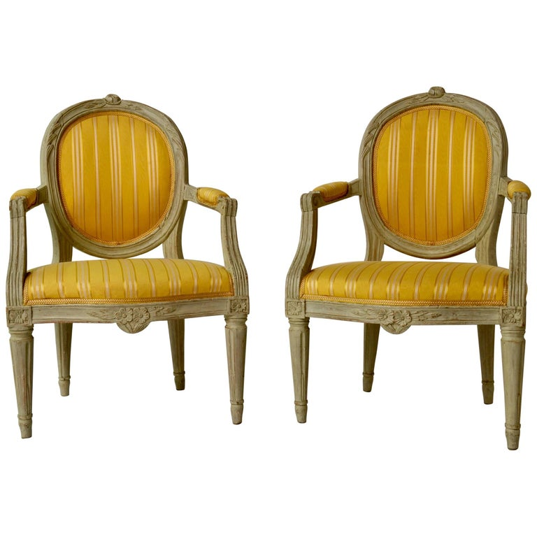 Pair of Gustavian Period Yellow Upholstered Armchairs, 18th Century For Sale