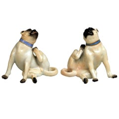 Meissen Two Pugs Dogs Models R 6a R 6b Animal Figurines Made, 20th Century