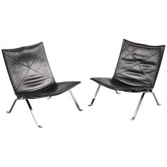 Pair of PK22 Lounge Chairs by Poul Kjaerholm for Kold Christensen, Denmark, 1960