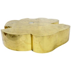 Gigantic Acid Etched Organic Flower Brass Coffee Table for Studio Belgali