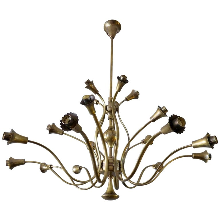 Italian Brass 20-Arm Chandelier Attributed to Arredoluce