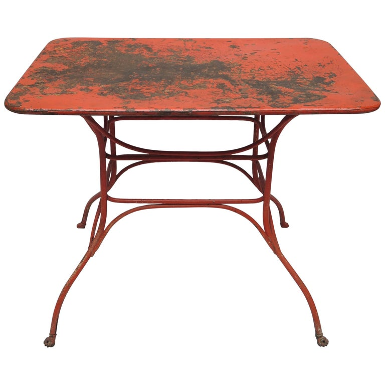 bd831a2198ee Rectangular French Metal Garden Table with Lion Paw Feet For Sale at ...
