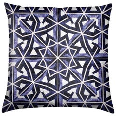 Bahia Print Lapis Lazuli Pillow by Lolita Lorenzo Home Collection