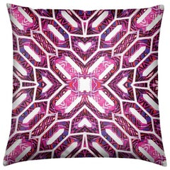 Palmares Print Magenta Deco Pillow by Lolita Lorenzo Home Collection