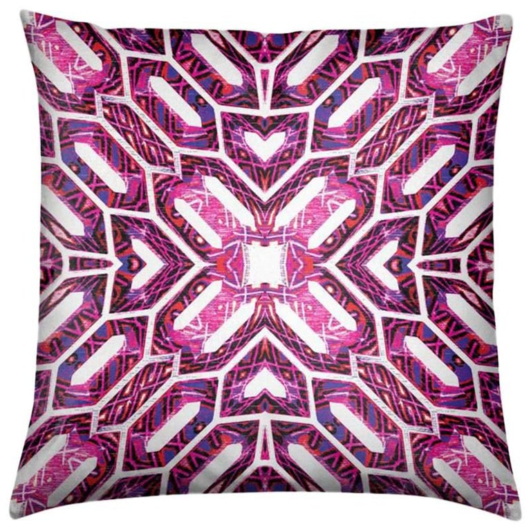 Palmares Print Magenta Deco Pillow by Lolita Lorenzo Home Collection For Sale