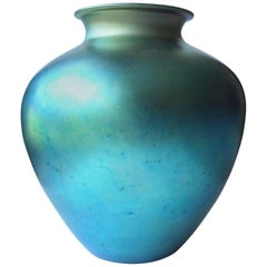 "Steuben ""Aurene"" Blue Vase, Iridescent Monumental Size, Signed, Numbered"