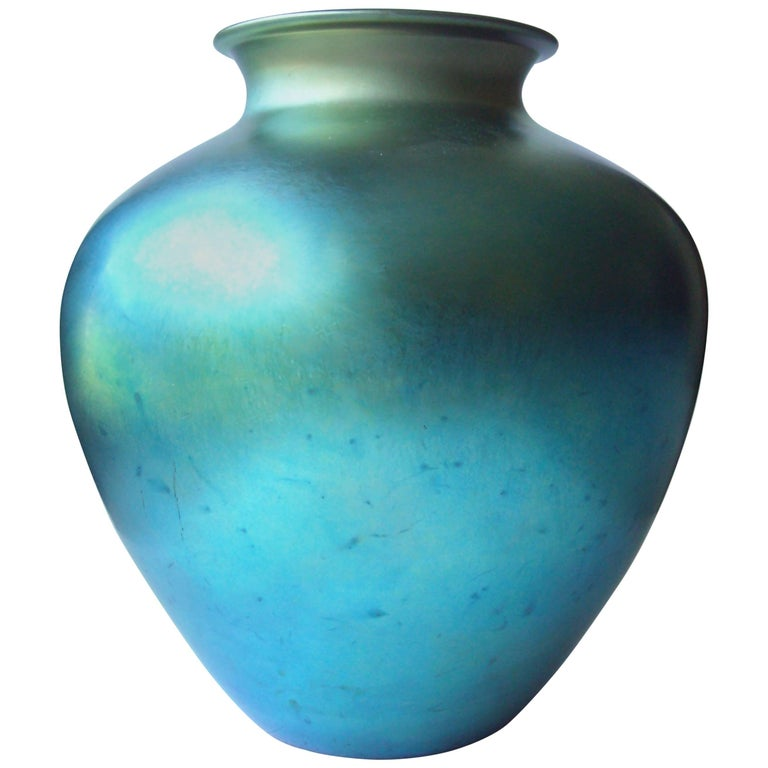 "Steuben ""Aurene"" Blue Vase, Iridescent Monumental Size, Signed, Numbered 1"
