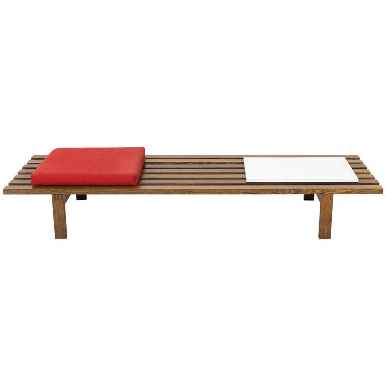 Large Wenge Mid-Century Modern Slat Bench by Martin Visser for 't Spectrum